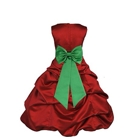 Apple Red Satin Pick-Up Bubble Formal Flower Girl Dress Christmas 808T](Red Christmas Dress Girl)