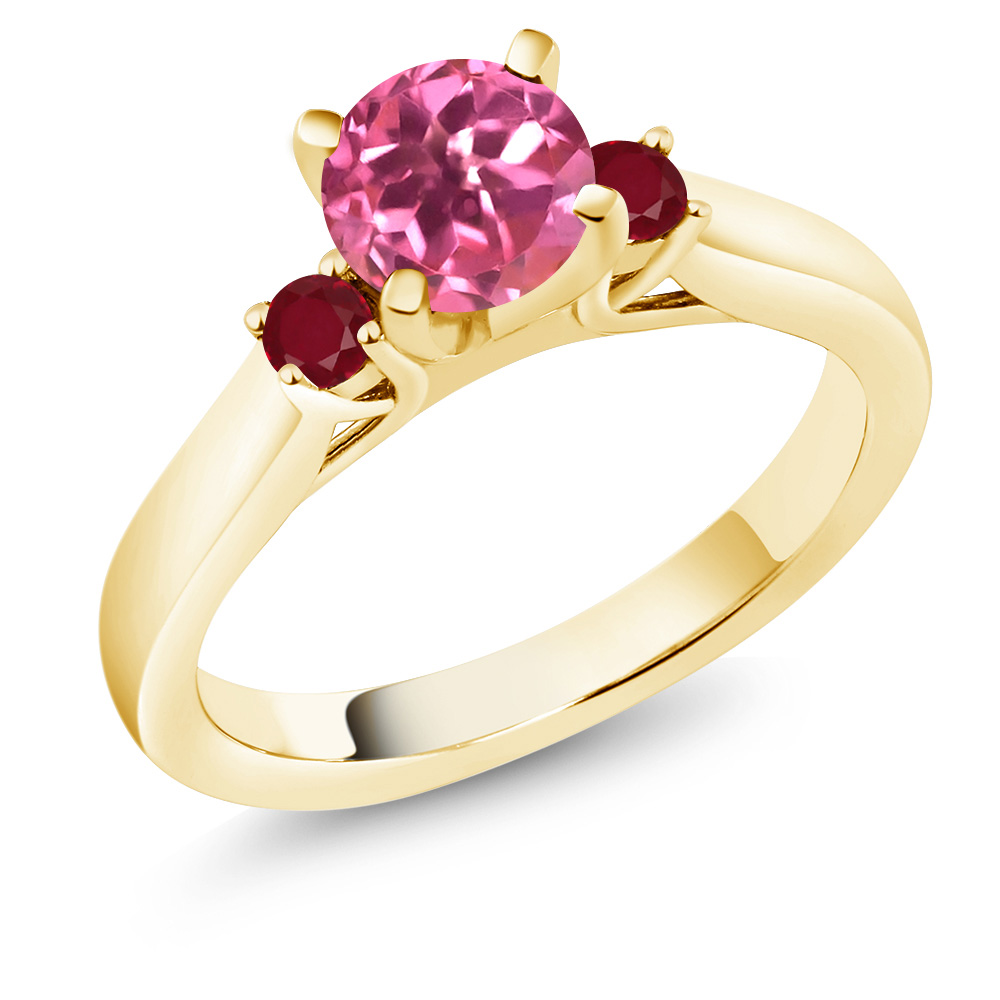 1.28 Ct Round Pink Mystic Topaz Red Ruby 14K Yellow Gold 3-Stone Ring by