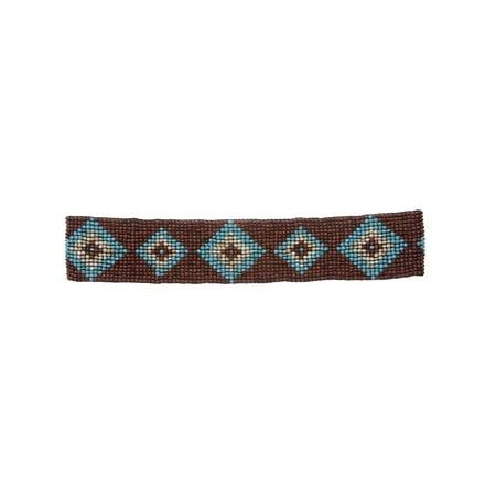 Diamond Pattern Southwest Beaded Stretch Belt Turquoise Beaded Belt