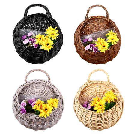 Moaere Hot Sale Handmade Rattan Flower Pot Plant Stand Holder DIY Home Wall Hanging Seagrass Woven Wicker Basket Decor