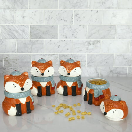 Harvest Time Fox Cookie Jars, Set of 4