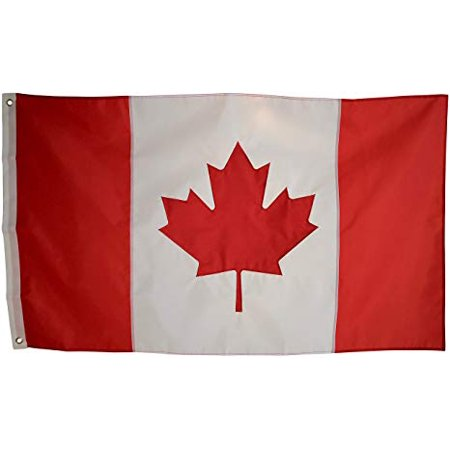 3x5 Foot Canada Flag Double Stitched Canadian Flag with Brass Grommets | 3 by 5 Foot Premium Indoor Outdoor Polyester Banner - High Quality Outdoor Banner