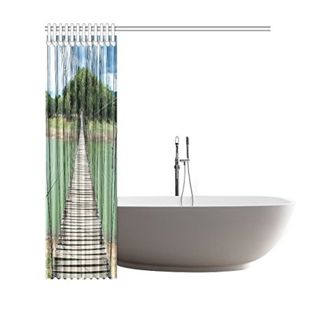 BOSDECO Wooden Bridge Path Way to Forest Polyester Fabric Shower Curtain Bathroom Sets Home Decor 66x72 Inches - image 3 of 3