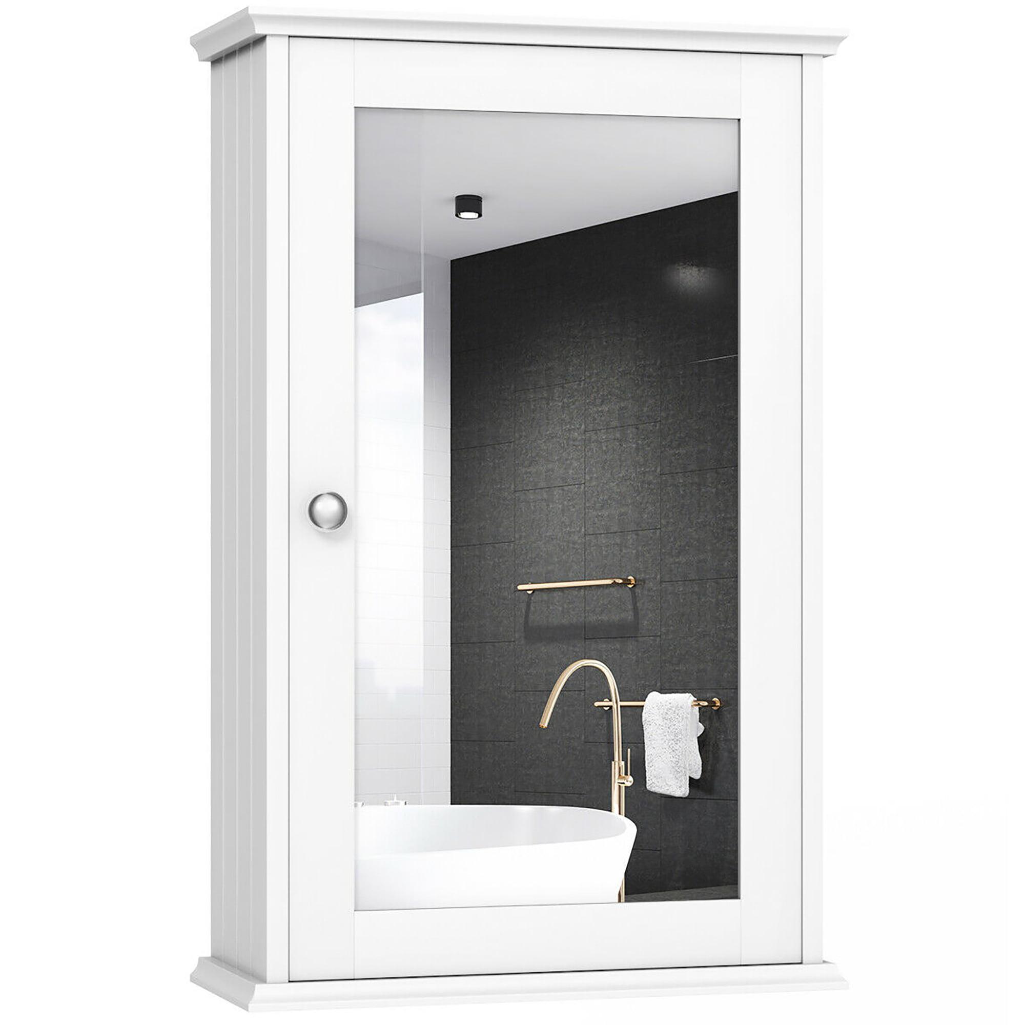 costway new bathroom wall cabinet single mirror door