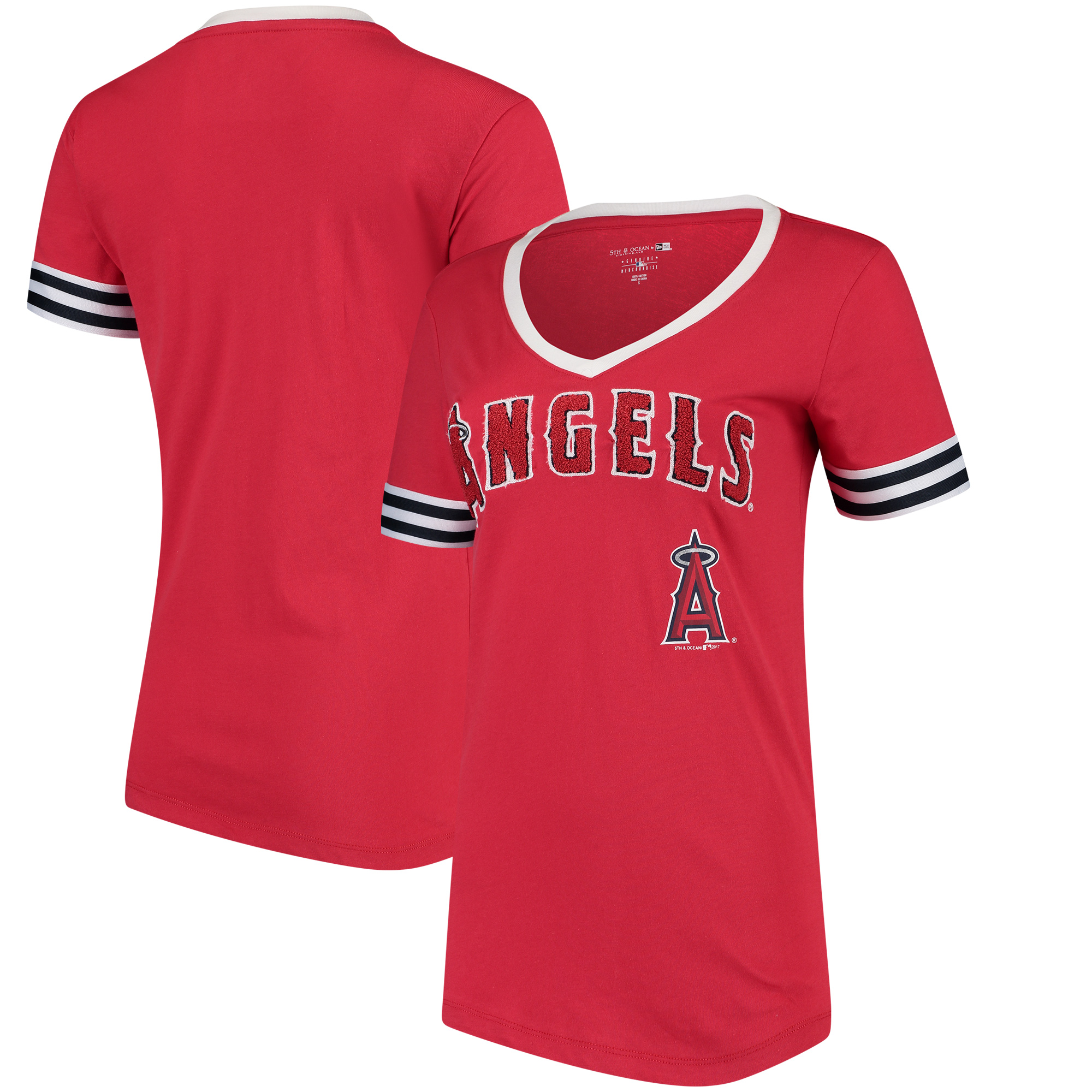 Los Angeles Angels 5th & Ocean by New Era Women's Baby Jersey V-Neck T-Shirt - Red