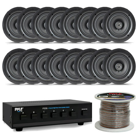 10666 Dual Channel (Pyle PDIC56 5.25 150W 2-Way In-Wall / In-Ceiling Dual Stereo Speakers with 8 Channel Speaker Selector and 250Ft Speaker Wire )