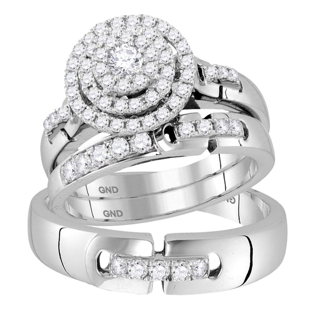 14kt White Gold His & Hers Round Diamond Cluster Matching Bridal Wedding Ring Band Set 1.00 Cttw by