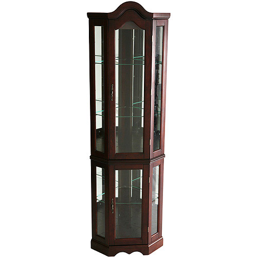 Lighted Corner Curio Cabinet Mahogany (BOX 1 OF 2) by Southern Enterprises