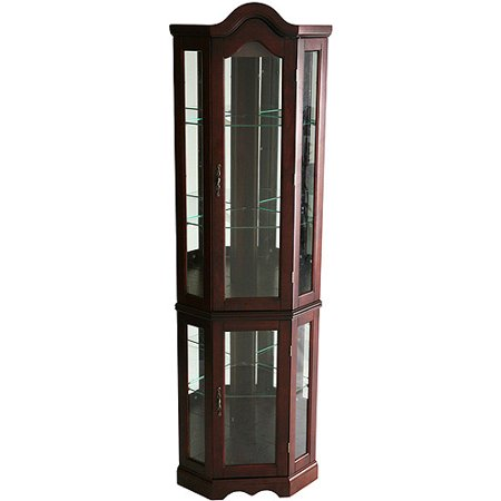 (Lighted Corner Curio Cabinet - Mahogany (BOX 1 OF 2))