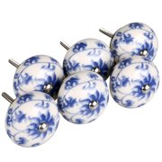 6Pcs Hand Painted Ceramic Knobs Handle for Door Cabinet Drawer ,Blue and White Flower Pattern