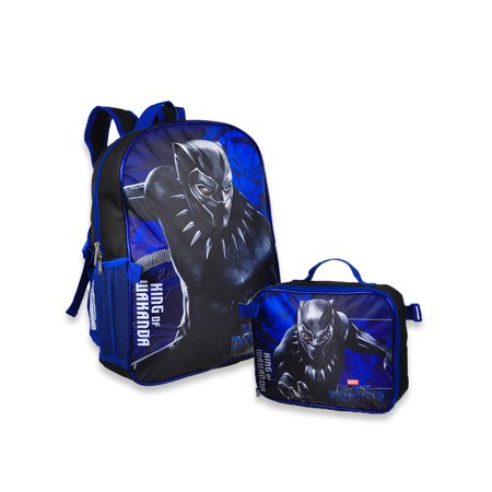 Size one size Kids' 16-inch Black Panther Backpack with Matching Lunch Bag, Blue - Panther Kids
