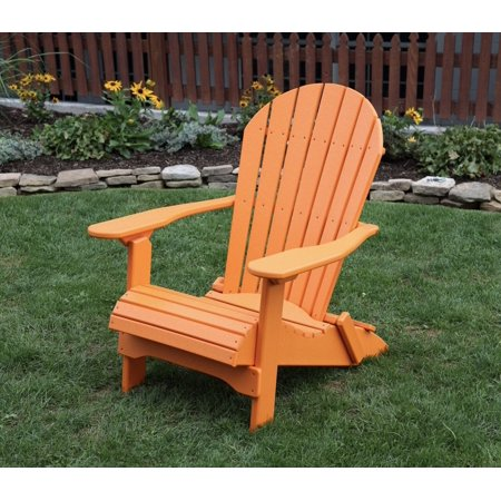 Bright Orange POLY LUMBER Rolled Seating Heavy Duty EVERLASTING Lifetime PolyTuf HDPE AMISH CRAFTED Folding Adirondack Chair ()
