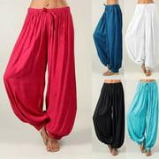 Nituyy Women Dance Pants Elastic High Waist Baggy Cotton Harem Trousers Plus Size