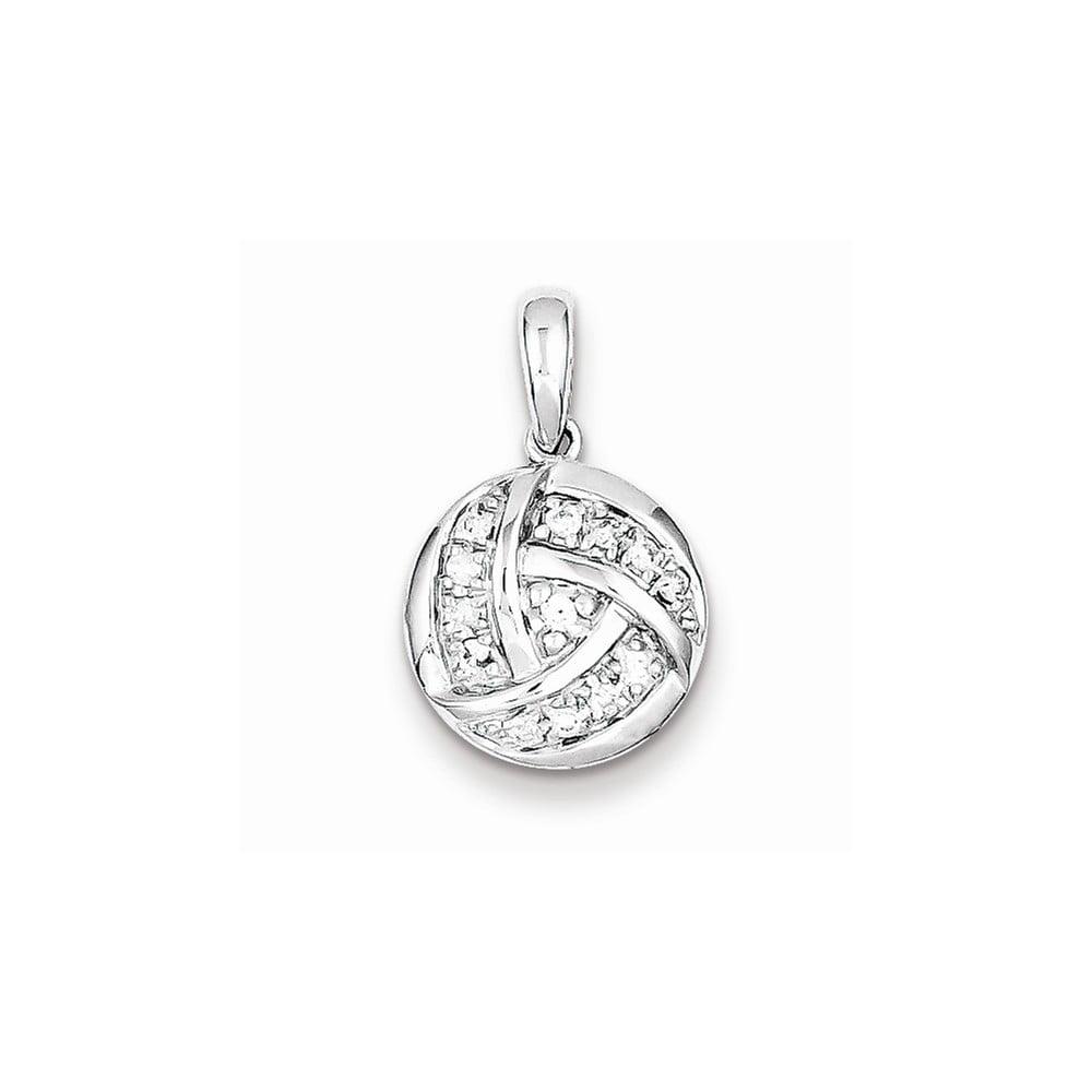 Sterling Silver & Diamond Circle Pendant. Carat Wt- 0.15ct