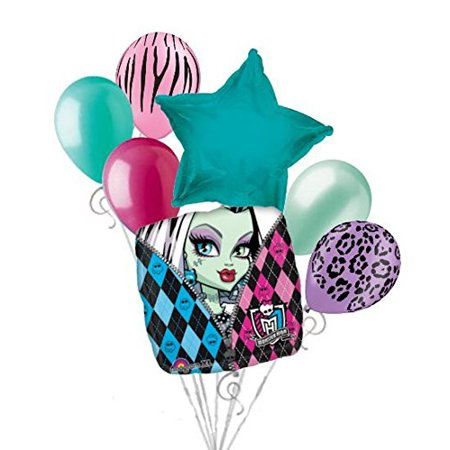7 pc Monster High Balloon Bouquet Party Decoration Happy Birthday Frankie Stein](Frankie Stein Cartoon)