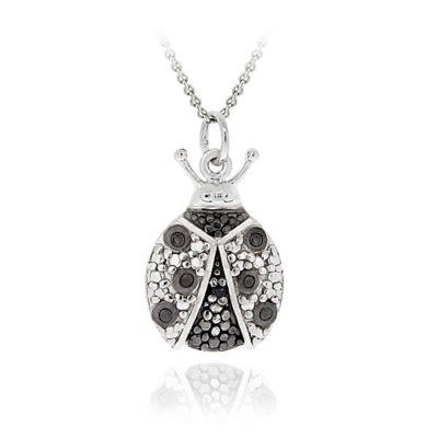 Sterling Silver Black Diamond Accent Ladybug Pendant