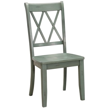 Pine Veneer Side Chair With Double X-Cross Back, Teal Blue, Set of (Side By Side Or Front Back Double Stroller)