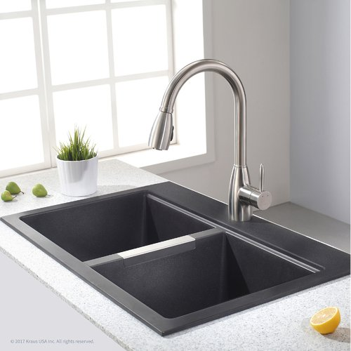 Kraus Granite 33'' x 22'' Double Basin Undermount Kitchen Sink