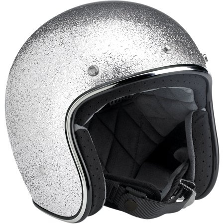 BILTWELL Bonanza Open Face Solid Color Helmets Silver 2XL  BH-SIL-DOT-2X - Silver Face