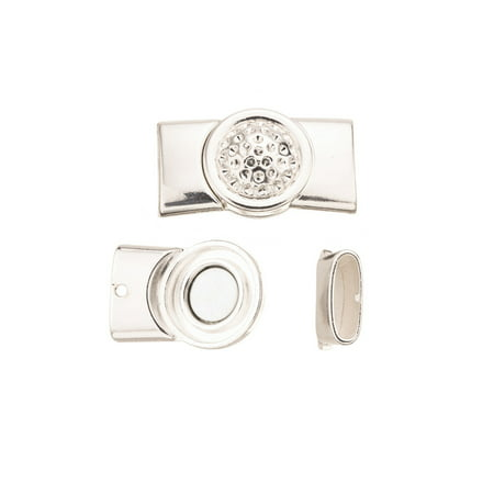 Domed Shape - Dome Shape Magnet Clasp Silver Plated Fits 4.5x15.5mm Flat Cords 20x36mm Sold per pkg of 1