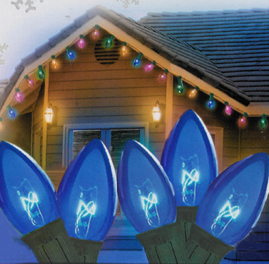 Set of 25 Transparent Blue C7 Christmas Lights - Green Wire