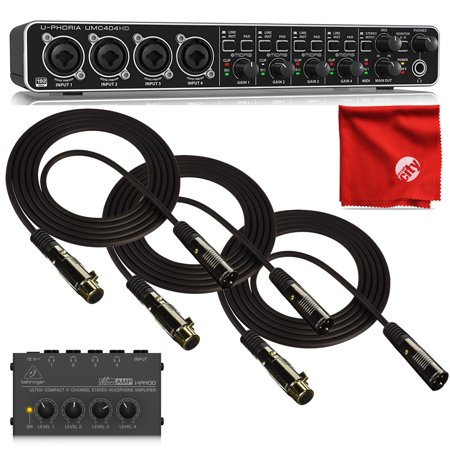 Behringer UMC404HD Audio Interface 4-Channel Bundle with HA400 4-Channel Headphone Amplifier and 3X Monoprice Gold Plated 10ft XLR Cables with Microfiber Cleaning Cloth