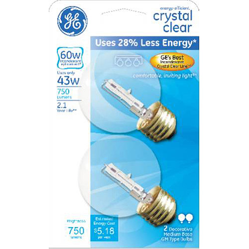 GE 60 watt (uses 43 watts) Clear G16.5 Halogen Decorative Globe, 2 Pack