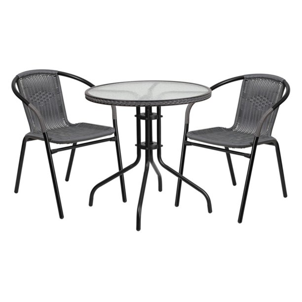 Flash Furniture Rattan Wicker 3-Piece Round Outdoor Bistro Set, Multiple Colors