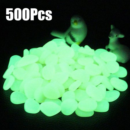 500pcs Glow in the Dark Garden Pebbles for Walkways Aquarium Decor Plants Luminous Stones ()