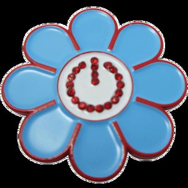 ReadyGolf - Blue Hippie Flower Power Ball Marker & Hat Clip with Crystals (Flower Power Hippie)