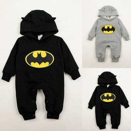 Infants Cotton Onesie - 3-24Months Outfit Baby Boys Infant Cartoon Batman Cotton Bodysuit Costume Romper