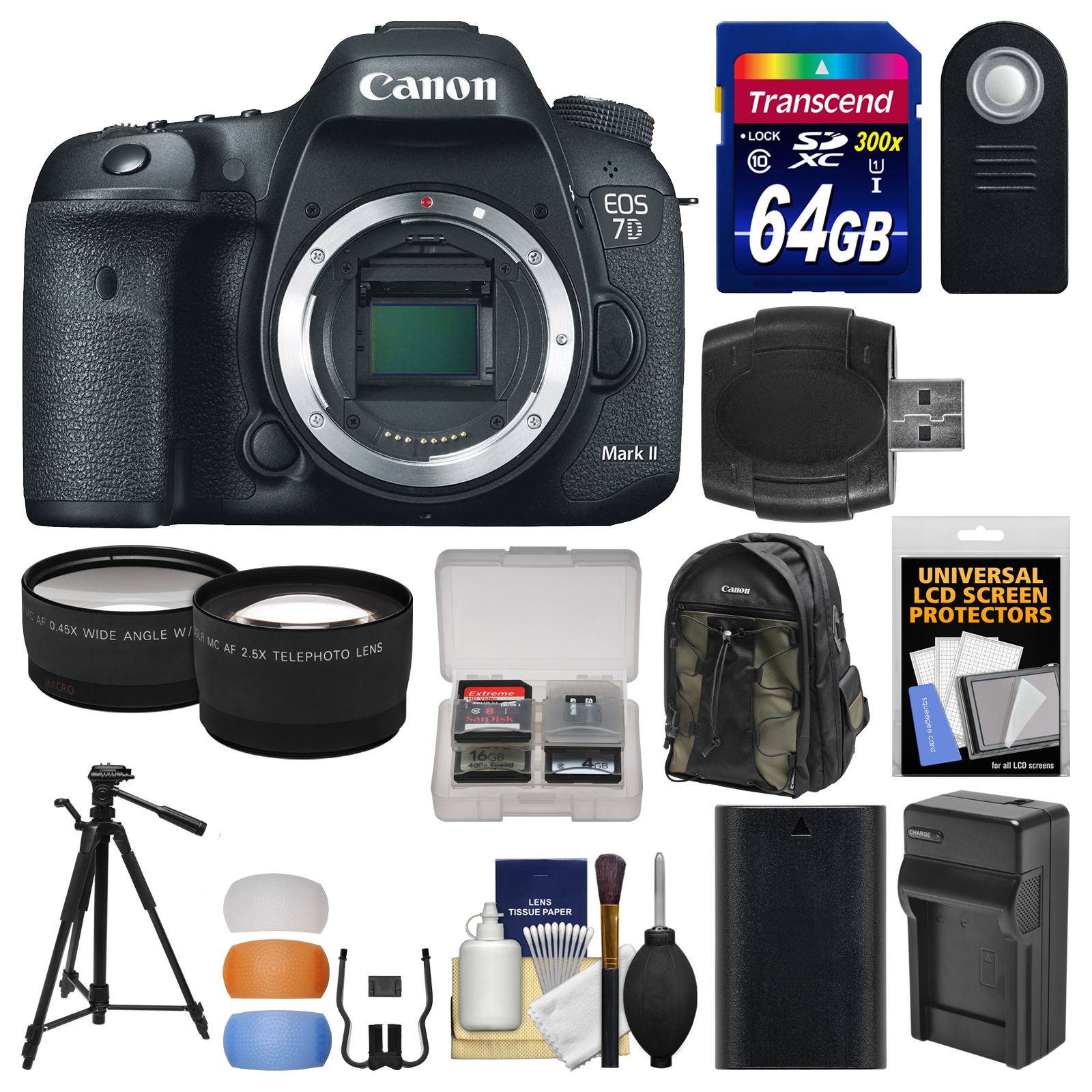 Canon EOS 7D Mark II GPS Digital SLR Camera Body with 64GB Card + Backpack + Battery Charger + Tripod + Remote + Tele... by Canon