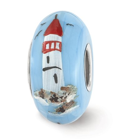 Fenton Hand Painted Lighthouse Sailboats Glass   Sterling Silver Charm