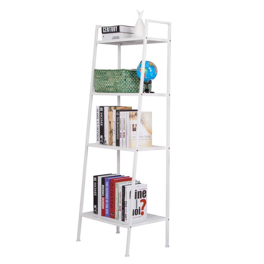 4 Tier Heavy Duty Metal Leaning Ladder Shelf Bookcase Bookshelf Storage Shelves