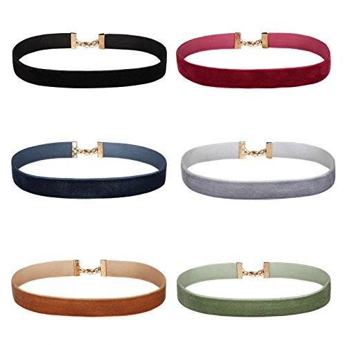 BodyJ4You Choker Necklace Black Red Green Velvet Ribbon Collar Set 6 Pieces