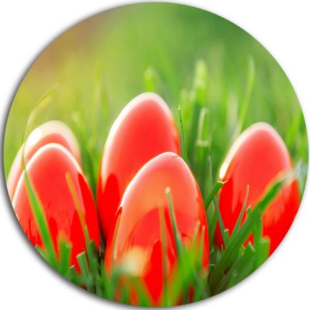 DESIGN ART Designart 'Red Easter Eggs in Green Grass' Landscape Photo Round Metal Wall - Red Easter Grass