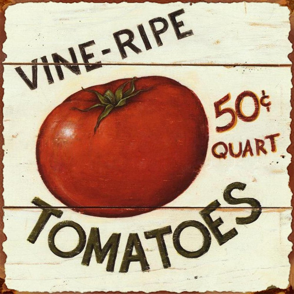 "Barnyard Designs Vine Ripe Tomatoes Retro Vintage Tin Bar Sign Country Home Decor 11"" x 11"""
