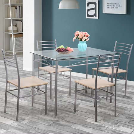 Veryke 5 Piece Dining Table Set, Dining Room Sets Glass Metal Table,  Kitchen Dining Furniture for Dining Room, Kitchen, Restaurant with 4 Chairs