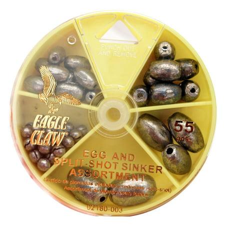 Eagle Claw Sinker Assortment Egg Sinker and Split-Shot, 55-Pack