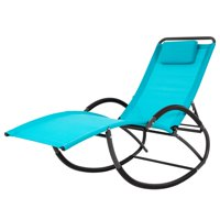 """56"""" Blue Modern Steel Reclining Outdoor Lounge Chair with a Pillow"""
