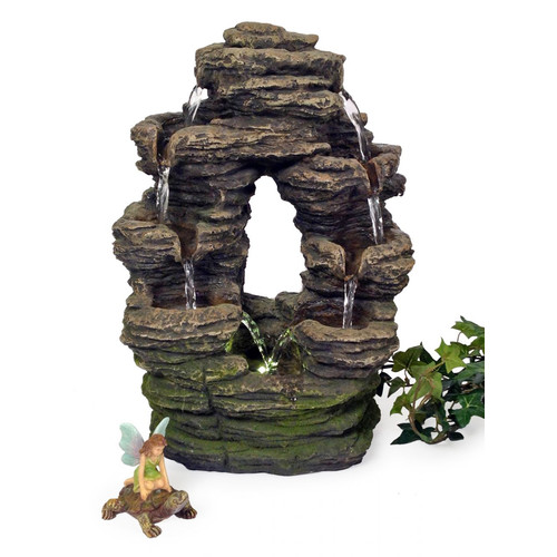 Marshall Home Garden Resin Oval Flat Rock Fountain