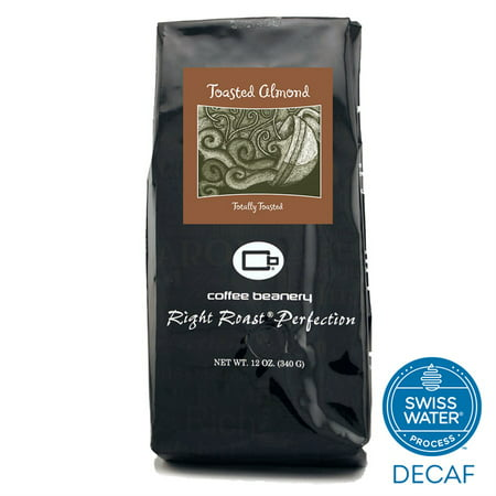 Coffee Beanery Toasted Almond Flavored Coffee SWP Decaf 12 oz. (Whole Bean)