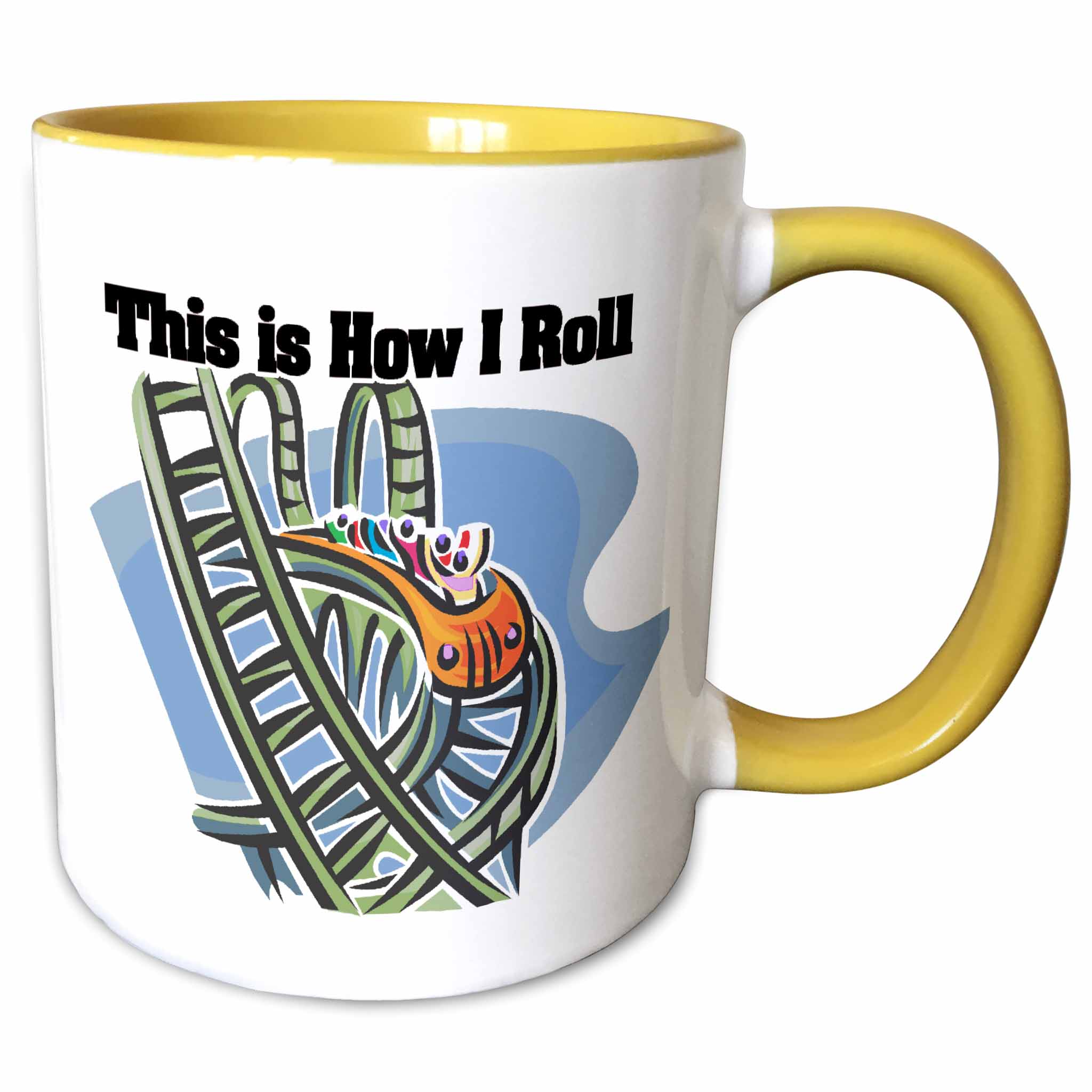 3dRose This Is How I Roll Roller Coaster - Two Tone Yellow Mug, 11-ounce