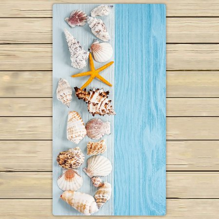 PHFZK Ocean Beach Theme Towel, Starfish and Seashells on Blue Wooden Background Hand Towel Bath Bathroom Shower Towels Beach Towel 30x56 inches (Theme Beach)