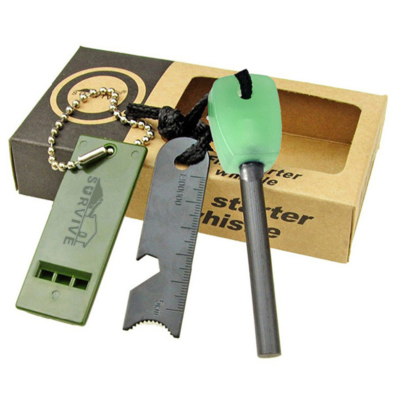 Fire Starter - Includes Flint with Ruler, Bottle Opener, and Whistle w/ Lanyard