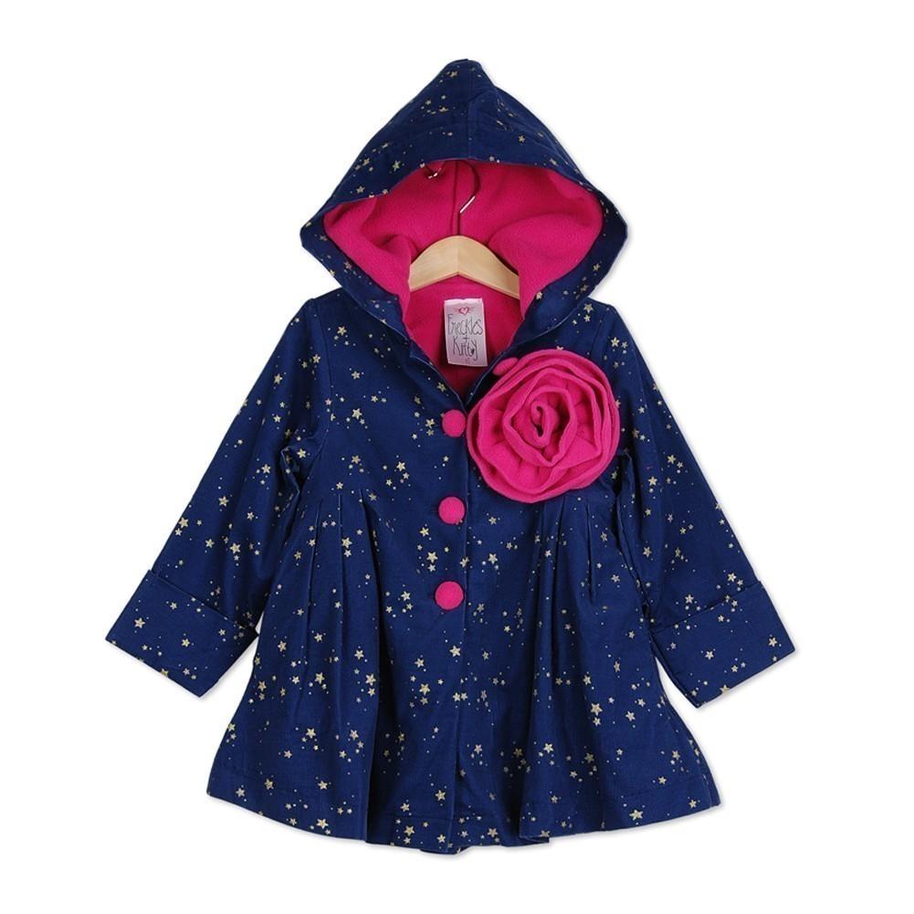 Freckles + Kitty Little Girls Navy Corduroy Star Cotton Hoodie Coat