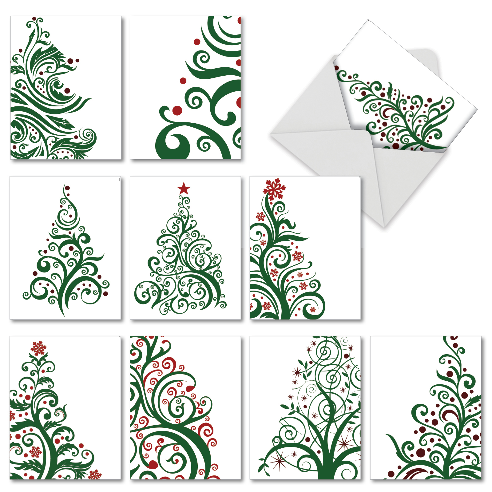 M5019XTG Just Fir You: 10 Assorted Christmas Thank You Note Cards with Envelopes, The Best Card Company