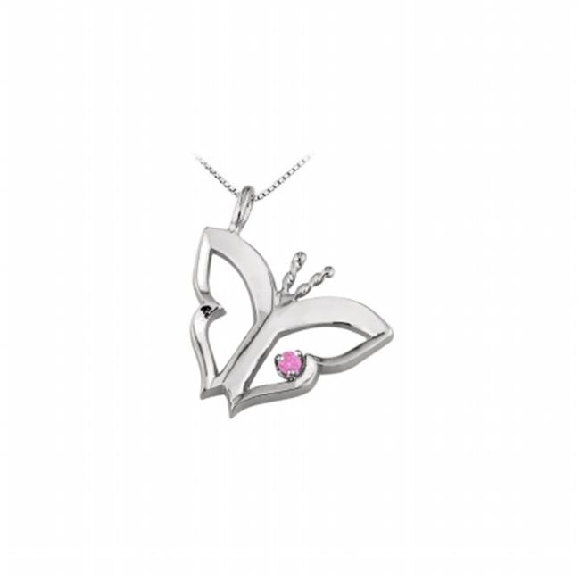FineJewelryVault UBUPDS83895W14PS Butterfly Pendant Neckl...