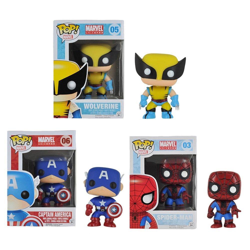 Funko POP Marvel Universe: Spider Man-Wolverine-Captain A...