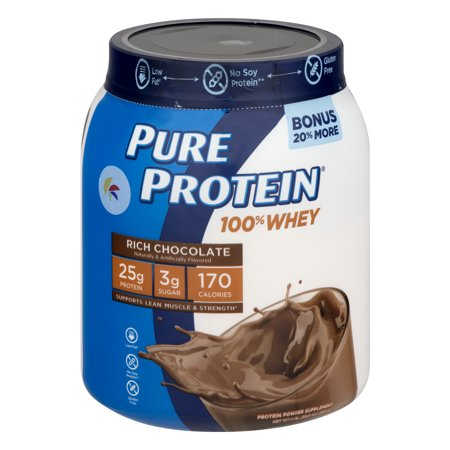 Pure Protein Rich Chocolate 100  Whey Protein Powder Nutritional Supplement  28 Oz